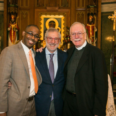 Head of School, Andre Del Valle; Board of Trustees Chair, Paul Levy; Founder, Brother Brian Carty